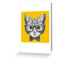 Cat with glasses and bow tie Greeting Card