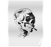 Skull Smoking A Cigarette  Poster