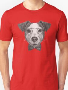 Jack Russell with glasses and bow tie Unisex T-Shirt