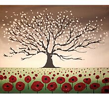 Blossom tree hill picture spring abstract art wall canvas landscape poppies texture impasto art Photographic Print