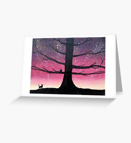 """The Owl & Pussycat"" wall art Original print painting owl decor wall art starry night tree of life Greeting Card"