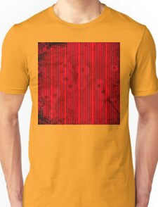 Blue stripes on grunge textured red background Unisex T-Shirt