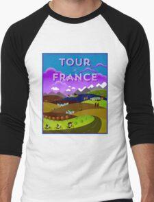 TOUR DE FRANCE; Bicycle Racing Advertising Print Men's Baseball ¾ T-Shirt