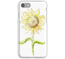 Happy Sunflower Watercolor Sketch iPhone Case/Skin