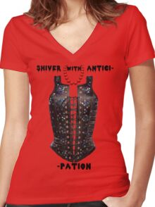 Shiver with Anticip- Women's Fitted V-Neck T-Shirt