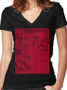 Abstract Blue stripes on bold red Women's Fitted V-Neck T-Shirt
