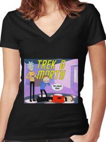 Trek & Morty Women's Fitted V-Neck T-Shirt