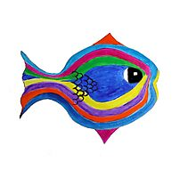 Multicolor acrylic painting of a fish Photographic Print