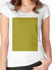 Bird pattern on golden background Women's Fitted Scoop T-Shirt