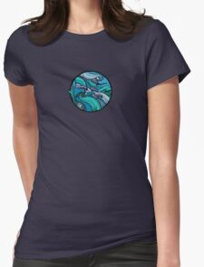 Wave Circle Womens Fitted T-Shirt