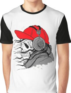 Human Skull with Cap and Headphones Listening Music Graphic T-Shirt
