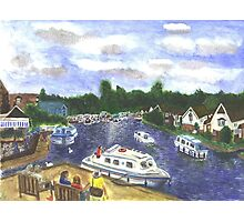View from Wroxham Bridge Norfolk Broads Watercolour Print Photographic Print