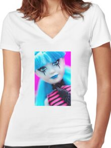 Punk Gothic Doll Women's Fitted V-Neck T-Shirt
