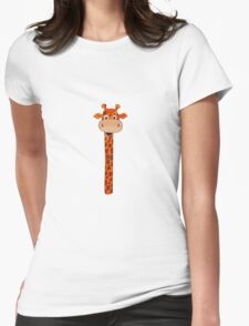 Giraffe Head Cartoon Womens Fitted T-Shirt
