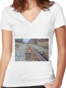 Tracks to the Future Women's Fitted V-Neck T-Shirt
