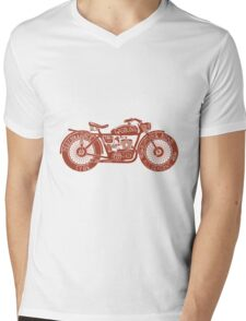 Vintage Motorcycle Hand drawn Silhouette Mens V-Neck T-Shirt
