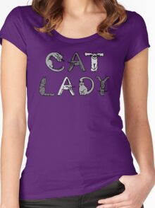 Cat Lady - Cat Letters - Grey Women's Fitted Scoop T-Shirt