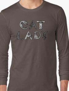 Cat Lady - Cat Letters - Grey Long Sleeve T-Shirt