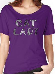 Cat Lady - Cat Letters - Grey Women's Relaxed Fit T-Shirt