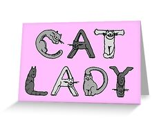 Cat Lady - Cat Letters - Grey Greeting Card