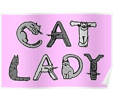 Cat Lady - Cat Letters - Grey Poster