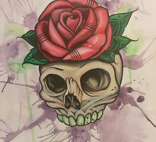 Watercolor Skull with Rose by elyssaendicott