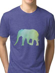 Elephant-Green Watercolor Tri-blend T-Shirt