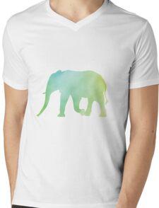 Elephant-Green Watercolor Mens V-Neck T-Shirt