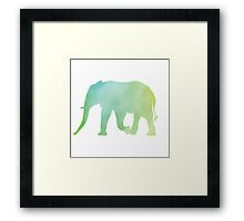 Elephant-Green Watercolor Framed Print