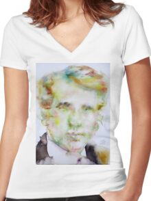 ROBERT FROST - watercolor portrait.2 Women's Fitted V-Neck T-Shirt