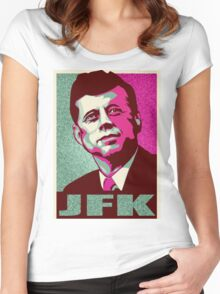 JFK Shepard Hope Style Poster (Emerald Hi-Res Textured) Women's Fitted Scoop T-Shirt