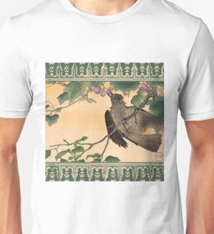 Japanese Bird Eating Grapes Unisex T-Shirt
