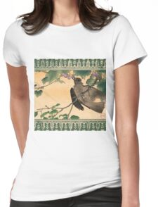 Japanese Bird Eating Grapes Womens Fitted T-Shirt