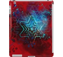 Glowing abstract blue star on blood red iPad Case/Skin