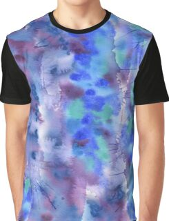 Watercolor Abstract Hand-Painted Blue Purple Turquoise Violet Graphic T-Shirt