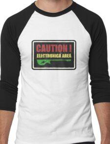 Caution Electronica Area Sign Men's Baseball ¾ T-Shirt