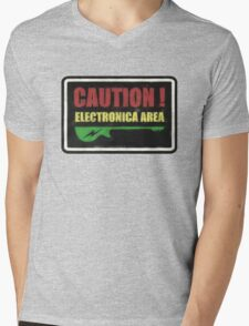 Caution Electronica Area Sign Mens V-Neck T-Shirt