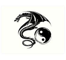 Yin And Yang Big Black Flying Dragon On White Background Design Art Print