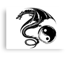 Yin And Yang Big Black Flying Dragon On White Background Design Canvas Print