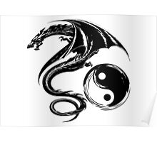 Yin And Yang Big Black Flying Dragon On White Background Design Poster