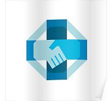 Handshake Forming Cross Octagon Retro Poster