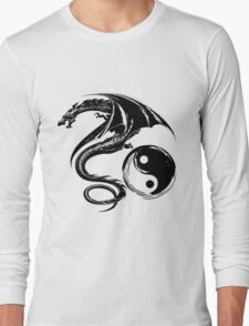 Yin And Yang Big Black Flying Dragon On White Background Design Long Sleeve T-Shirt