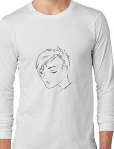 beautiful woman face,hand drawn  Long Sleeve T-Shirt