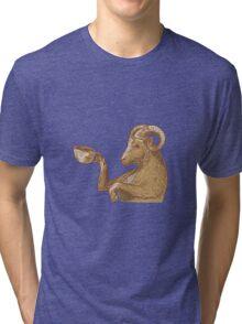 Ram Goat Drinking Coffee Drawing Tri-blend T-Shirt
