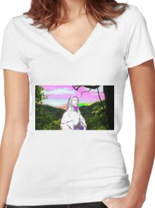psychedelic sunset hail mary Women's Fitted V-Neck T-Shirt