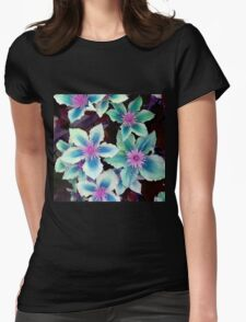 Turquoise Flowers Womens Fitted T-Shirt