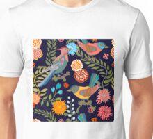 Japanese garden. Seamless oriental pattern with Victorian motifs. Unisex T-Shirt
