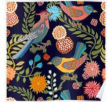 Japanese garden. Seamless oriental pattern with Victorian motifs. Poster