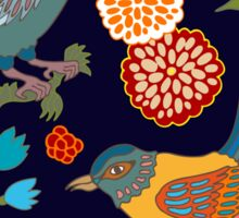 Japanese garden. Seamless oriental pattern with Victorian motifs. Sticker