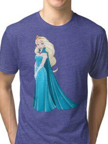 Snow Princess In Blue Dress Side Tri-blend T-Shirt